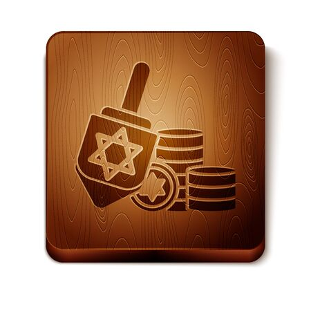 Brown Hanukkah dreidel and coin icon isolated on white background. Wooden square button. Vector Illustration  イラスト・ベクター素材
