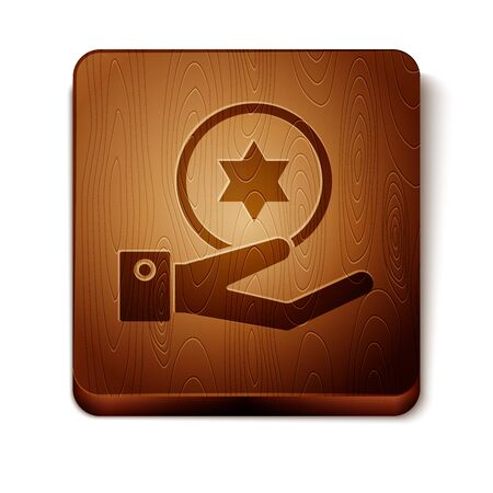 Brown Jewish coin on hand icon isolated on white background. Currency symbol. Wooden square button. Vector Illustration Ilustração