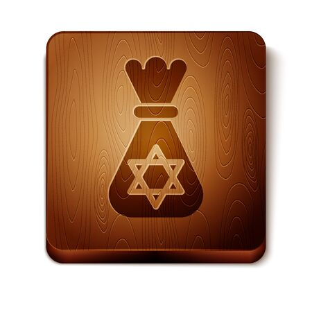 Brown Jewish money bag with star of david icon isolated on white background. Currency symbol. Wooden square button. Vector Illustration Illustration