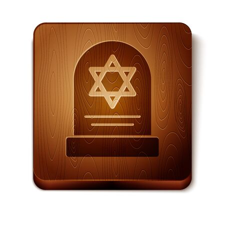Brown Tombstone with star of david icon isolated on white background. Jewish grave stone. Gravestone icon. Wooden square button. Vector Illustration Ilustração
