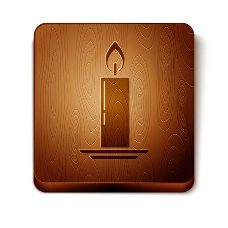 Brown Burning candle in candlestick icon isolated on white background. Old fashioned lit candle. Cylindrical candle stick with burning flame. Wooden square button. Vector Illustration
