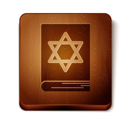Brown Jewish torah book icon isolated on white background. Pentateuch of Moses. On the cover of the Bible is the image of the Star of David. Wooden square button. Vector Illustration