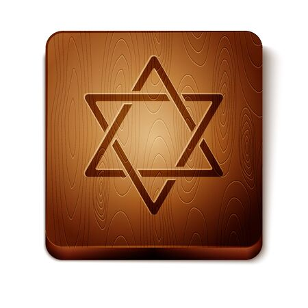 Brown Star of David icon isolated on white background. Jewish religion symbol. Symbol of Israel. Wooden square button. Vector Illustration