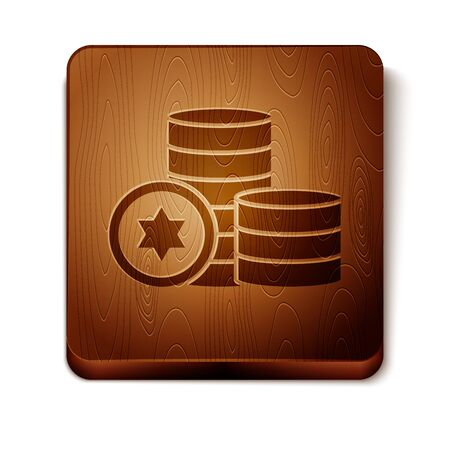 Brown Jewish coin icon isolated on white background. Currency symbol. Wooden square button. Vector Illustration Ilustração