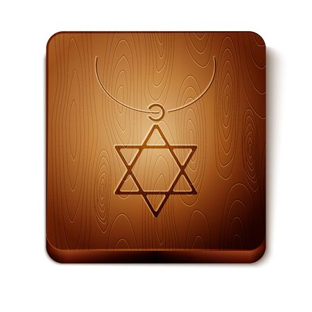 Brown Star of David necklace on chain icon isolated on white background. Jewish religion symbol. Symbol of Israel. Jewellery and accessory. Wooden square button. Vector Illustration
