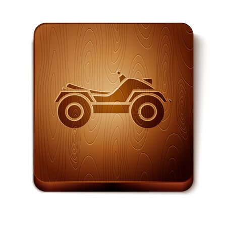 Brown All Terrain Vehicle or ATV motorcycle icon isolated on white background. Quad bike. Extreme sport. Wooden square button. Vector Illustration