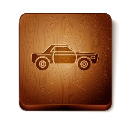 Brown Sedan car icon isolated on white background. Wooden square button. Vector Illustration
