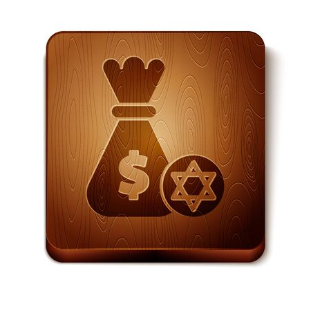 Brown Jewish money bag with star of david and coin icon isolated on white background. Currency symbol. Wooden square button. Vector Illustration Ilustração