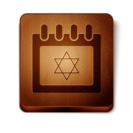 Brown Jewish calendar with star of david icon isolated on white background. Hanukkah calendar day. Wooden square button. Vector Illustration