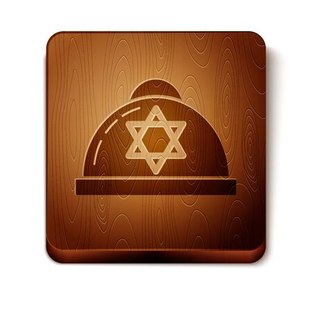 Brown Jewish kippah with star of david icon isolated on white background. Jewish yarmulke hat. Wooden square button. Vector Illustration Ilustração