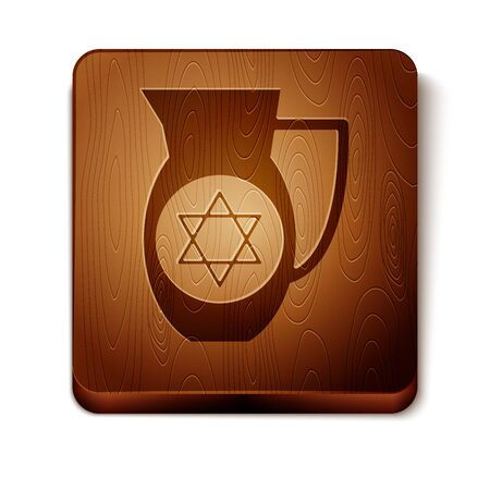 Brown Decanter with star of david icon isolated on white background. Pottery jug. Organic product in carafe. Wooden square button. Vector Illustration Ilustração