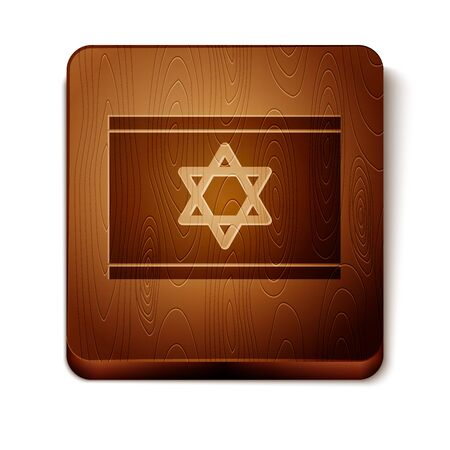 Brown Flag of Israel icon isolated on white background. National patriotic symbol. Wooden square button. Vector Illustration