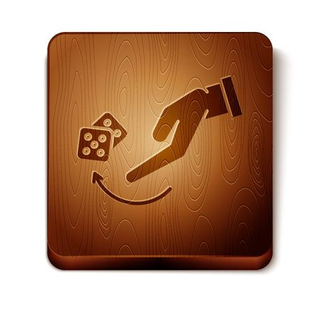 Brown Human hand throwing game dice icon isolated on white background. Wooden square button. Vector Illustration