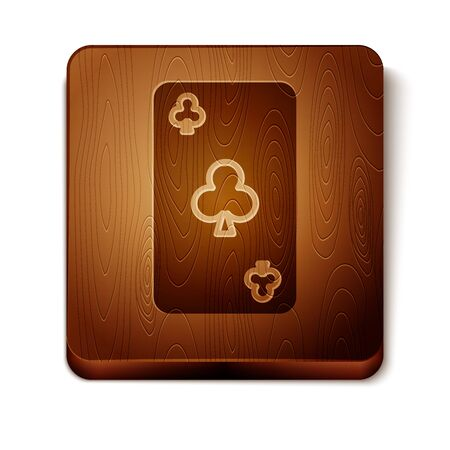 Brown Playing card with clubs symbol icon isolated on white background. Casino gambling. Wooden square button. Vector Illustration