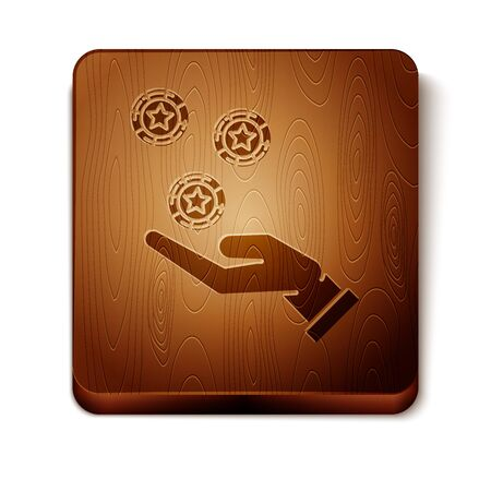 Brown Hand holding casino chips icon isolated on white background. Casino gambling. Wooden square button. Vector Illustration 写真素材 - 129898006
