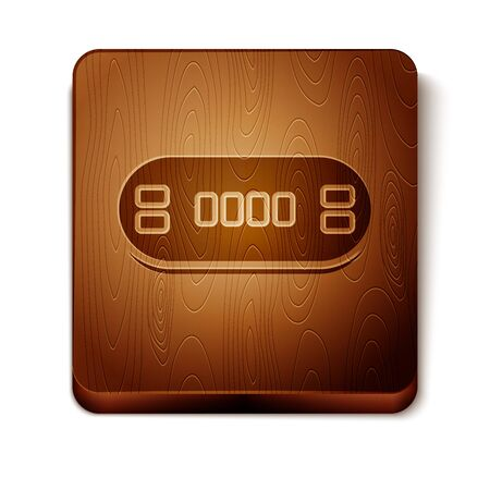 Brown Poker table icon isolated on white background. Wooden square button. Vector Illustration Фото со стока - 129898009