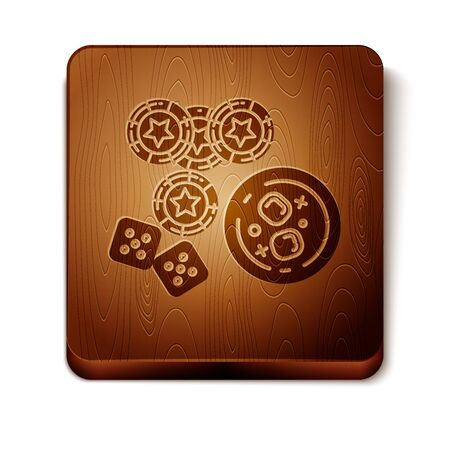 Brown Casino chips, game dice and glass of whiskey with ice cubes icon isolated on white background. Casino poker. Wooden square button. Vector Illustration 写真素材 - 129898014