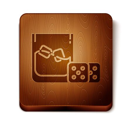 Brown Game dice and glass of whiskey with ice cubes icon isolated on white background. Casino gambling. Wooden square button. Vector Illustration