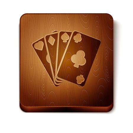 Brown Playing cards icon isolated on white background. Casino gambling. Wooden square button. Vector Illustration Фото со стока - 129898016