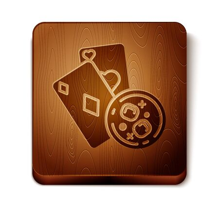 Brown Playing cards and glass of whiskey with ice cubes icon isolated on white background. Casino gambling. Wooden square button. Vector Illustration Фото со стока - 129898020