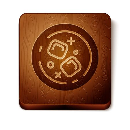 Brown Glass of whiskey and ice cubes icon isolated on white background. Wooden square button. Vector Illustration