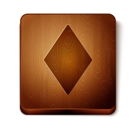 Brown Playing card with diamonds symbol icon isolated on white background. Casino gambling. Wooden square button. Vector Illustration Фото со стока - 129898024