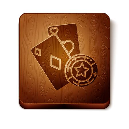 Brown Casino chip and playing cards icon isolated on white background. Casino poker. Wooden square button. Vector Illustration 写真素材 - 129898125