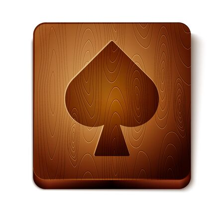 Brown Playing card with spades symbol icon isolated on white background. Casino gambling. Wooden square button. Vector Illustration Фото со стока - 129889001