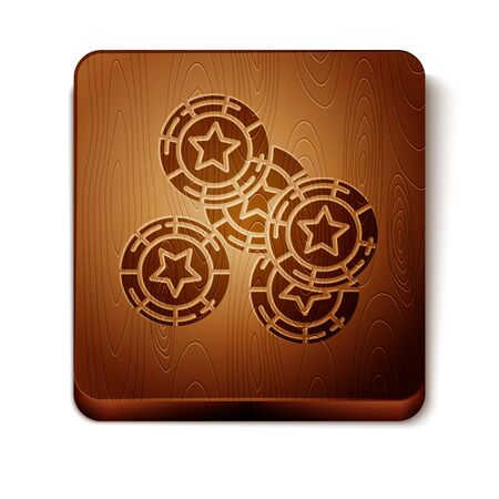 Brown Casino chips icon isolated on white background. Casino gambling. Wooden square button. Vector Illustration
