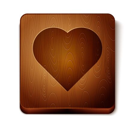 Brown Playing card with heart symbol icon isolated on white background. Casino gambling. Wooden square button. Vector Illustration
