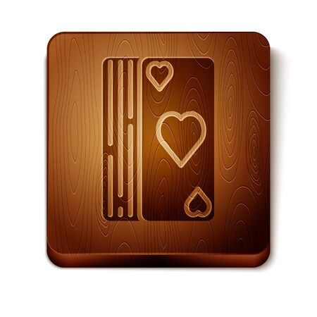 Brown Deck of playing cards icon isolated on white background. Casino gambling. Wooden square button. Vector Illustration Фото со стока - 129889005
