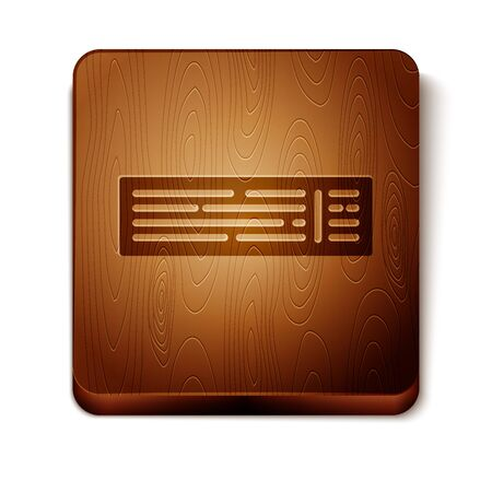 Brown Deck of playing cards icon isolated on white background. Casino gambling. Wooden square button. Vector Illustration 写真素材 - 129889007