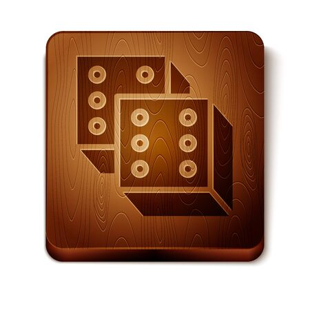 Brown Game dice icon isolated on white background. Casino gambling. Wooden square button. Vector Illustration Иллюстрация