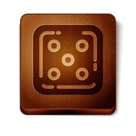 Brown Game dice icon isolated on white background. Casino gambling. Wooden square button. Vector Illustration Illustration