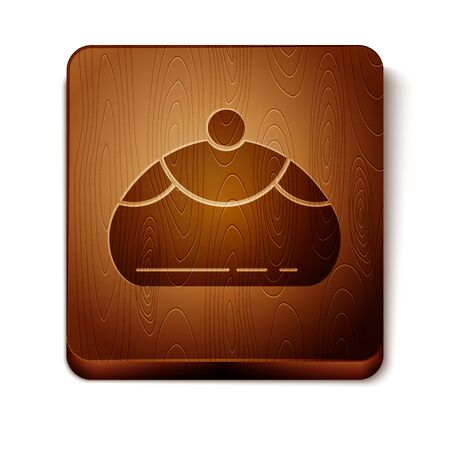 Brown Jewish sweet bakery icon isolated on white background. Hanukkah sufganiyot. Jewish easter cake. Wooden square button. Vector Illustration Ilustração