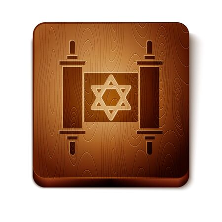 Brown Torah scroll icon isolated on white background. Jewish Torah in expanded form. Star of David symbol. Old parchment scroll. Wooden square button. Vector Illustration Ilustração