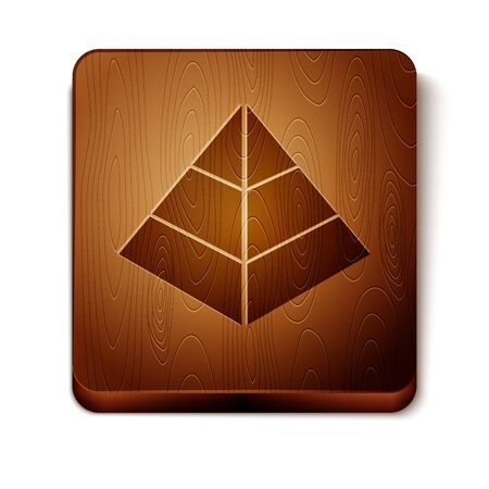 Brown Egypt pyramids icon isolated on white background. Symbol of ancient Egypt. Wooden square button. Vector Illustration Stock Illustratie