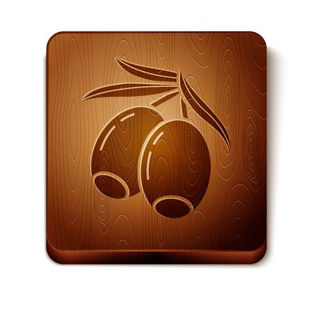 Brown Olives branch icon isolated on white background. Wooden square button. Vector Illustration Иллюстрация