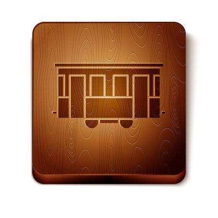 Brown Old city tram icon isolated on white background. Public transportation symbol. Wooden square button. Vector Illustration