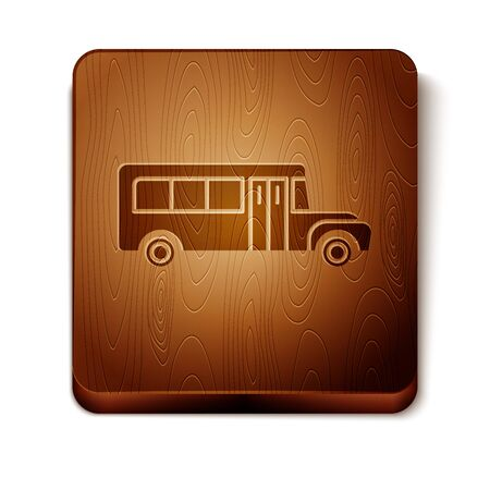 Brown School Bus icon isolated on white background. Public transportation symbol. Wooden square button. Vector Illustration Иллюстрация
