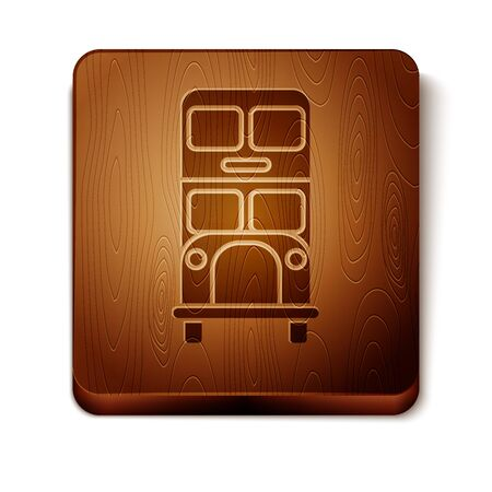Brown Double decker bus icon isolated on white background. London classic passenger bus. Public transportation symbol. Wooden square button. Vector Illustration Ilustração
