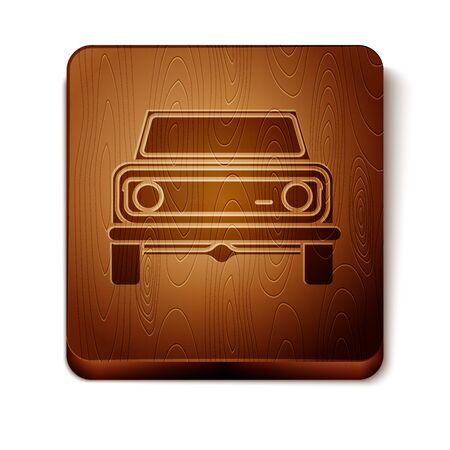 Brown Off road car icon isolated on white background. Wooden square button. Vector Illustration