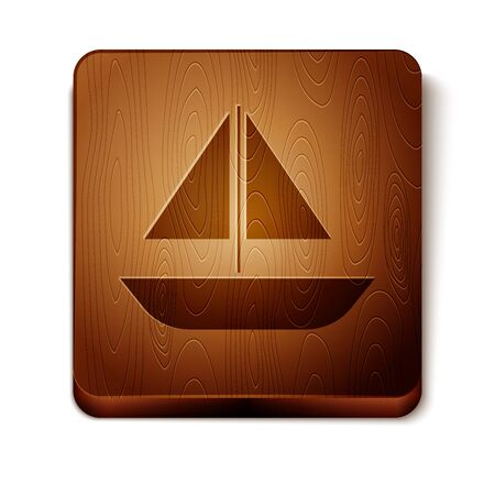 Brown Yacht sailboat or sailing ship icon isolated on white background. Sail boat marine cruise travel. Wooden square button. Vector Illustration
