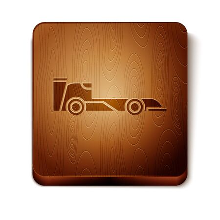 Brown Formula race car icon isolated on white background. Wooden square button. Vector Illustration