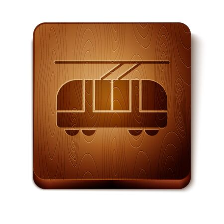 Brown Tram and railway icon isolated on white background. Public transportation symbol. Wooden square button. Vector Illustration