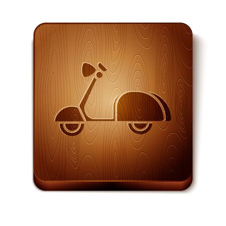 Brown Scooter icon isolated on white background. Wooden square button. Vector Illustration