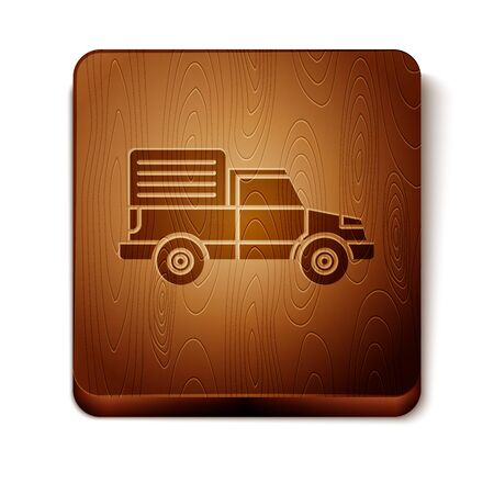 Brown Delivery cargo truck vehicle icon isolated on white background. Wooden square button. Vector Illustration Illustration