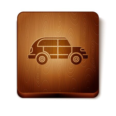 Brown Hatchback car icon isolated on white background. Wooden square button. Vector Illustration