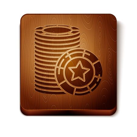 Brown Casino chips icon isolated on white background. Casino gambling. Wooden square button. Vector Illustration Фото со стока - 129889119