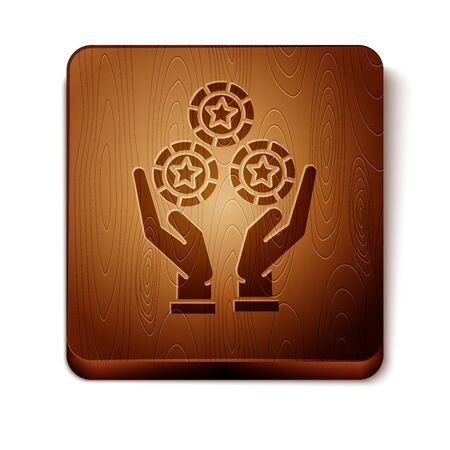 Brown Hand holding casino chips icon isolated on white background. Casino gambling. Wooden square button. Vector Illustration